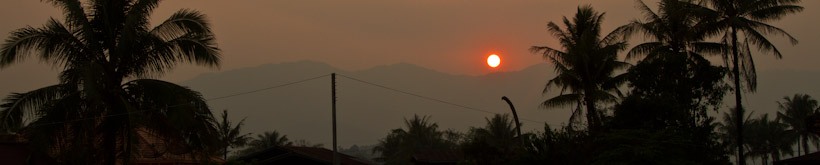Sunset over the mountains of northern Laos